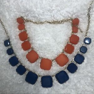 Square statement necklaces 2 pack